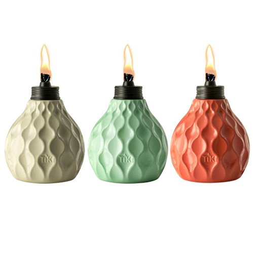 TIKI Brand 6-Inch Marine Glass Table Torch Seaside Escape, Ivory, Coral & Blue (Set of 3) ()