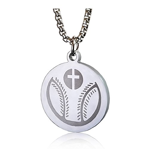 Stainless steel silver Baseball Cross Crucifix Necklace Bible Verse Pendant I CAN DO ALL THINGS Bible verse necklace with - 30 Necklace Baseball