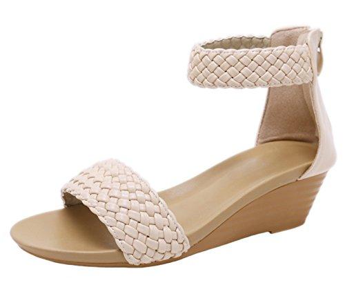Damen DADAWEN Keilabsatz Aprikose mit Sandalen offener und hinten Zehe qqr4wAd