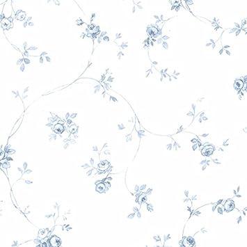 Essener Floral Prints Vinyltapete Pr33826 Weiss Blau Hellblau Blumen