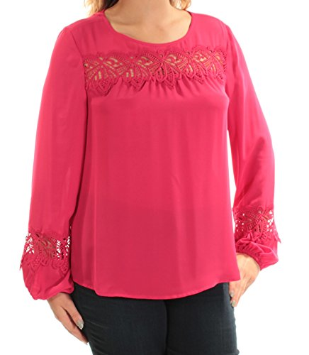 s Bracelet Sleeves Embroidered Peasant Top Pink L ()