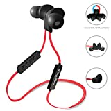 Kingyou Sport Bluetooth Headphones Snapshot Magnet Flat Tangle Free Sweatproof Wireless in-ear Earbuds for iPhone/iPad/Android/Tablet BT001(Black with Red)