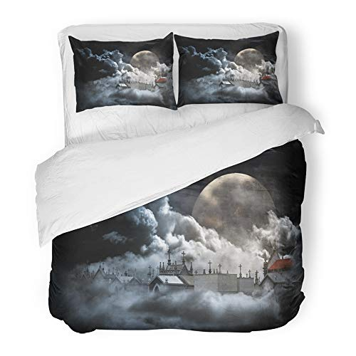 Emvency 3 Piece Duvet Cover Set Brushed Microfiber Fabric Blue City Conceptual About Death with Cemetery in Cloudy Sky Full Moon Night Breathable Bedding Set with 2 Pillow Covers Twin Size]()