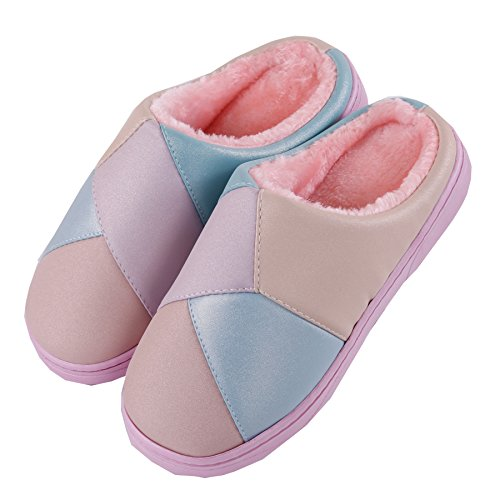 winter cotton plush home slippers Warm Boots Pink Stitching thick Snow Shoes crust CHxqtAtwYp