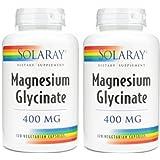 Solaray Magnesium Glycinate 400 Mg - 120 Veg Capules (120 x 2)
