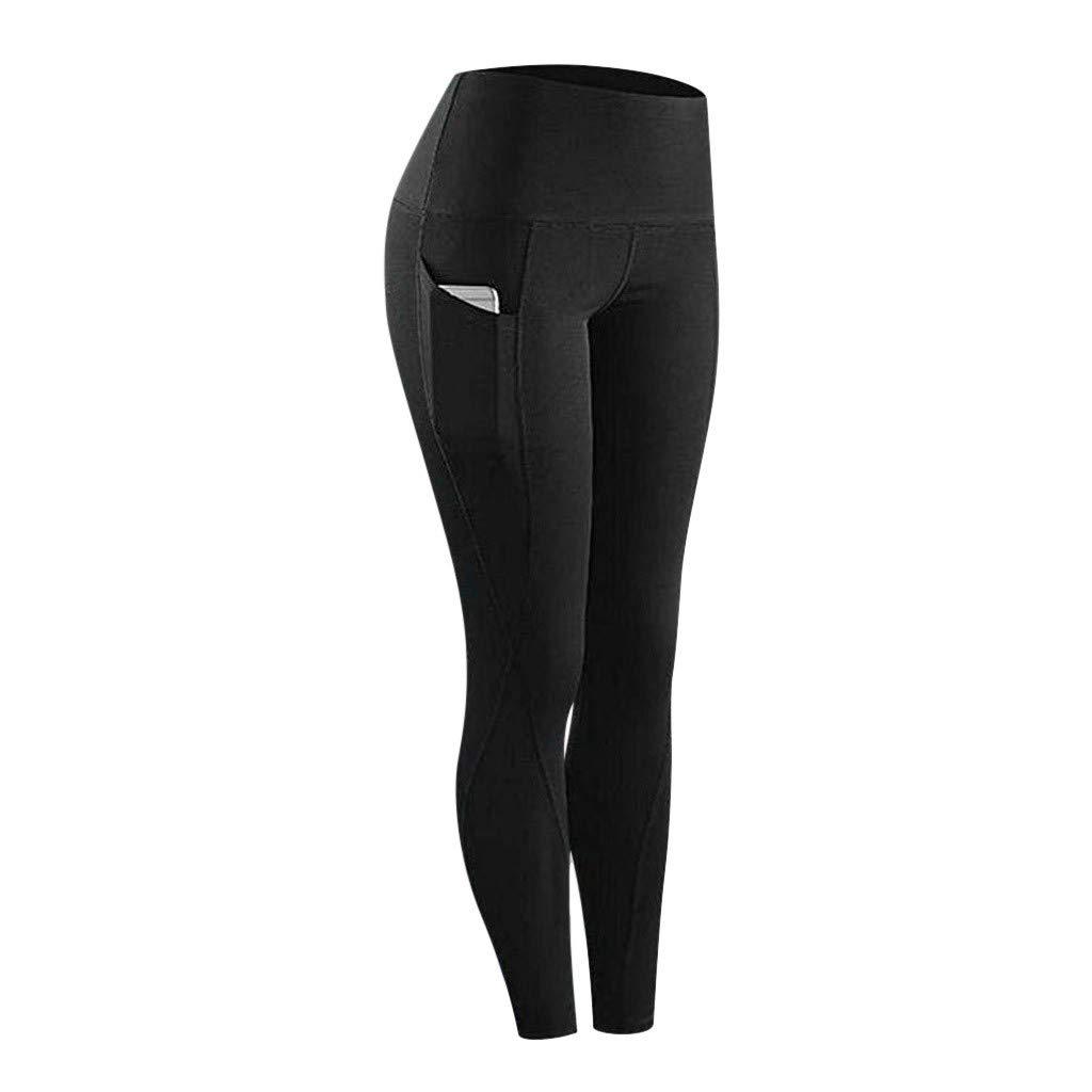 EUYOO Leggings Donna Sportivi Pantaloni per Yoga Allenamento Fitness Vita Alta Opaco con Tasca Push-up Pantaloni Tuta Donna