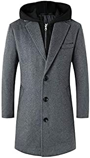 Lisskolo Men's Wool Blend Overcoat with Detachable Hooded Trench Coat Knee Le