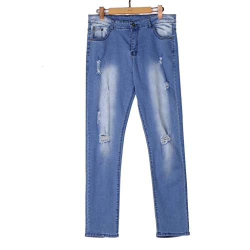 Comodo Frayed Skinny Pants Battercake Uomo Troursers Jeans Biker Rip Distressed Denim Blau Slim 0XFFn4v
