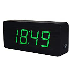 Wooden Digital Clock, KABB 8-Inches Black Wood Grain Green LED Light Alarm Clock with Time Date Temperature Display and Snooze & Acoustic Control Functions for Office and Home Decoration