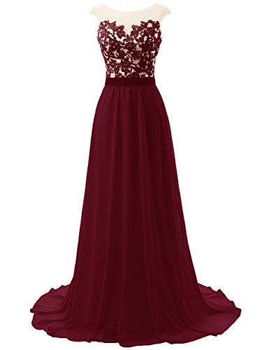 JAEDEN Prom Dresses Bridesmaid Dress Long Lace Open Back Chiffon Evening Gown Cap Sleeves Burgundy US20W ()