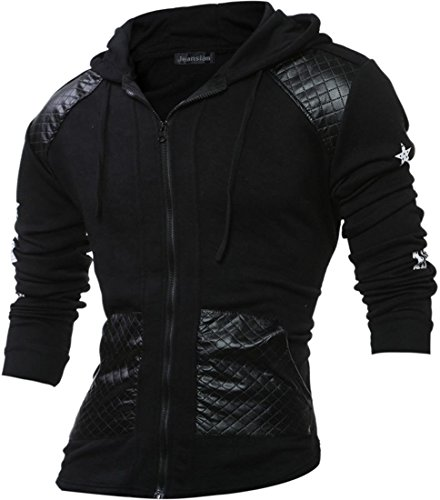 - jeansian Men's Fashion Encrusted Leather Zipper Hooded Sweater Tops 88H1 Black S
