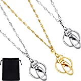 Jovitec 3 Pieces Stainless Steel Necklace Lanyard Chain Necklace Badge with ID Holder Breakaway Safety Clasp for Women and Girls
