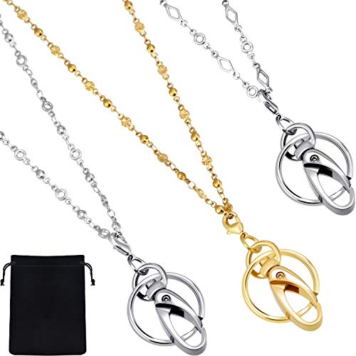(Jovitec 3 Pieces Stainless Steel Necklace Lanyard Chain Necklace Badge with ID Holder Breakaway Safety Clasp for Women and Girls)