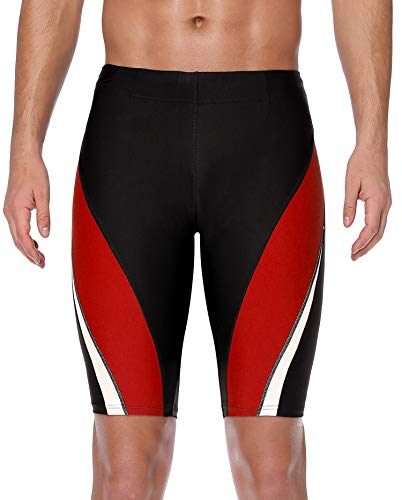 (ATTRACO Male Tights Compression Swim Jammer Shorts Quick Dry Boardshorts Red 32 )