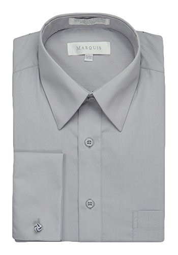 Grey Long Sleeved Silk Top - Marquis Men's Dress Shirt with French Cuffs and Links, 15-15.5