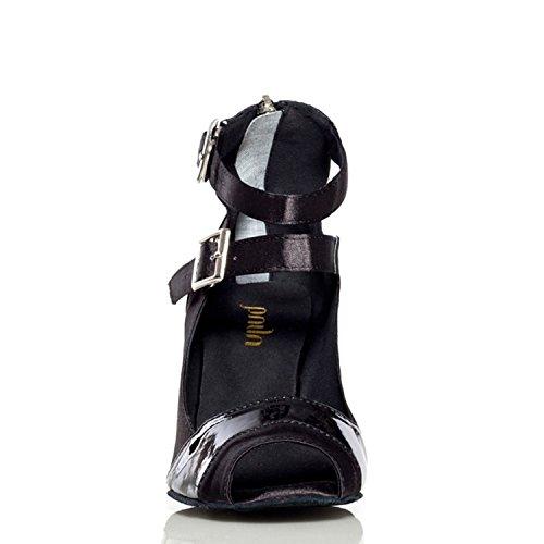 Minitoo en el tobillo para mujer de ángel y doble de Latin zapatos de danza de tacón seda para mujer de boda negro