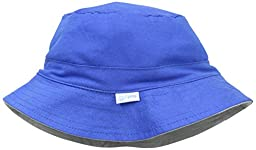 i play. Baby Organic Cotton Reversible Bucket Hat, Royal/Gray, 9-18 Months