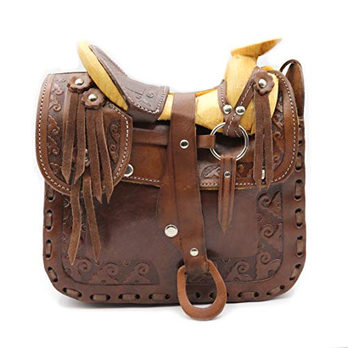 Western Hand Tooled Leather Saddle Purse Tooled Leather Cowgirl Horse Saddle Bag Leather Equestrian Saddle Purse Medium