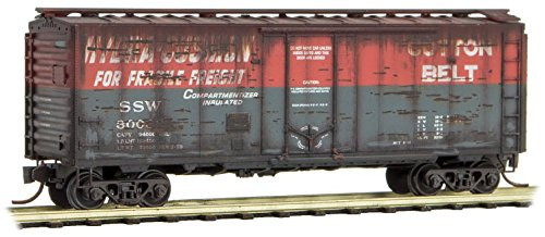 Micro-Trains MTL N-Scale 40ft Box Car Cotton Belt/SSW Weathered #30038