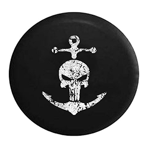 Distressed - Punisher Skull Navy Military Nautical Anchor Pirate Life Spare Tire Cover Vinyl Black 32 Inch