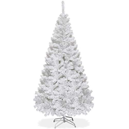 Goplus Artificial Christmas Tree Xmas Pine Tree with Solid Metal Legs Perfect for Indoor and Outdoor Holiday Decoration (White, 5 FT) (Trees Sale Vintage Christmas For Aluminum)