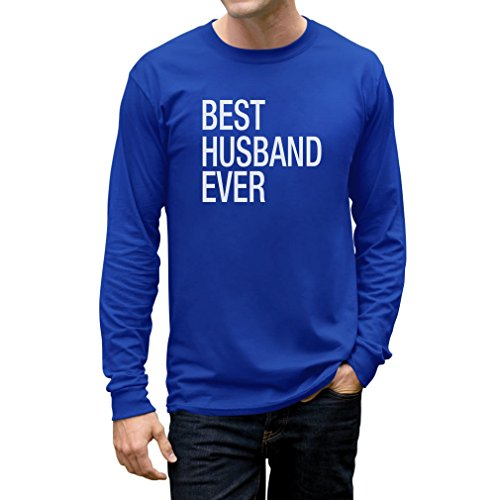 TeeStars - Gift for Father - Best Husband Ever Married Long Sleeve T-Shirt Large Blue