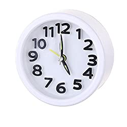 SUJING Bedroom Alarm Clock Travel Quartz Alarm Clock Desk Cupboard Bedside Travel Alarm Clock (white)