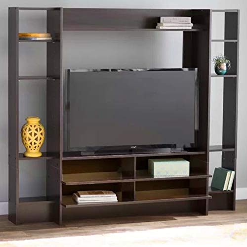 BS Entertainment Center for TVs up to 42 Wall Unit Storage Cabinet TV Stand Console Media Living Room Furniture Bookcase Organizer Audio Video Asymmetrical Design Cherry ()