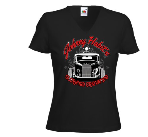Damen T-Shirt Hot Rod Johnny Habits Rockabilly Tattoo US Custom Gr.M