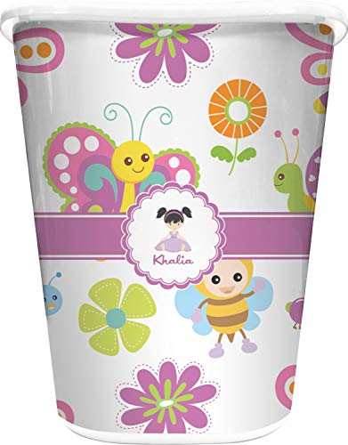 (RNK Shops Butterflies Waste Basket - Single Sided (White) (Personalized))