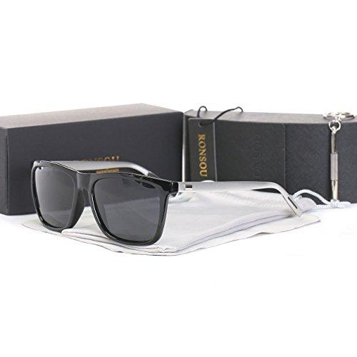 Ronsou Men Women Stylish Polarized Sunglasses 100% UV400 Protection Sun Glasses For Driving Fishing Golf black frame/gray - Sunglasses Aviator Black Kim Wears Kardashian