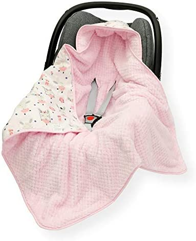 CAR SEAT Baby Blanket//Footmuff//Cosy Toes//Cotton /& Waffle-Effect Mink Plush 80 x 80cm Dual Layer with Hood Lama//Cream
