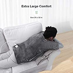 """XXX-Large Electric Heating Pad for Neck and Shoulders, Heating Pad for Back Pain with Auto Off, ETL Certified, FDA Registered, 6 Temperature Settings, Fast Heating, 25"""" x 32"""", Dark Gray"""