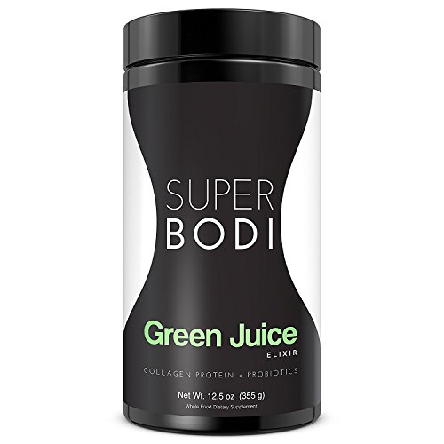 Green Detox Premium Grade Organic Green Juice Powder 3-in-1 Superfood Formula w Collagen Protein + 14 Green Superfoods + Probiotics to Alkaline and aid in Natural Weight Loss by SUPERBODI.