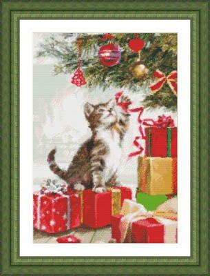 Kitten With Ribbon Cross Stitch Chart and Free Embellishment