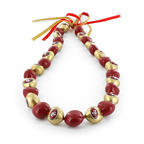 aminco NFL San Francisco 49ers Kukui Nut Necklace, Red/Gold -