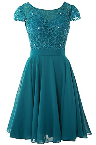 MACloth Women Cap Sleeve Mother of The Bride Dress Lace Short Formal Party Gown (24w, Teal)