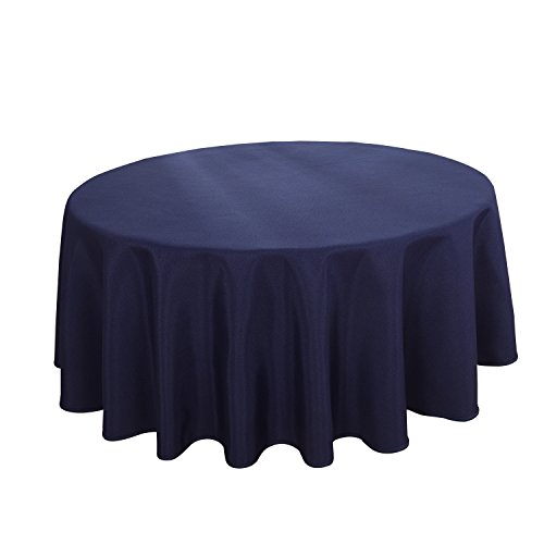 HIGHFLY Linen Round Tablecloth 60 Inch Waterproof Navy Blue Tablecloth for Home Kitchen Dining Room