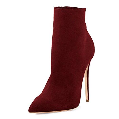 Botines De Mujer Merumote Fashion Con Cordones Casul Zapatos De Punta Estrecha Con Tacón 5.5-12 Us Wine-gamuza