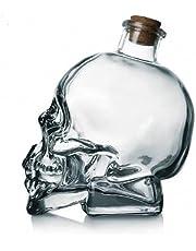Skull Decanter, Lead-Free Glass Crystal 3D Skull Bottle with Cork Stopper, Skull Mason Jar for Vodka, Whiskey, Tequila Alcohol Liquor