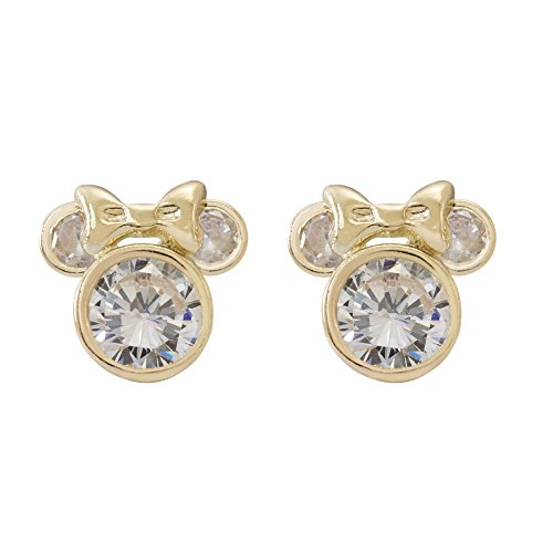Disney Minnie Mouse Women Jewelry, 10KT Yellow Gold Cubic Zirconia Stud Earrings Mickey's 90th Birthday Anniversary