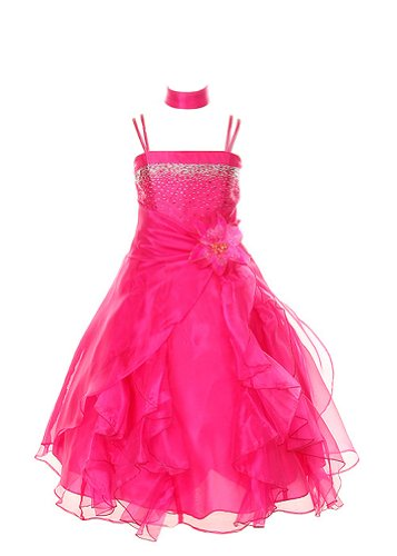Cinderella Couture Crystal Organza Girl Dress-Fushia-6