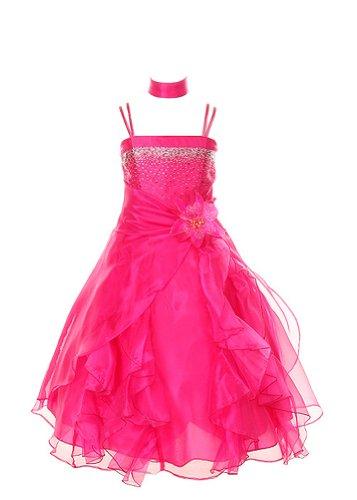 Cinderella Couture Crystal Organza Girl Dress-fushia-6 from Cinderella Couture