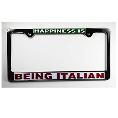 Happiness is Being Italian License Plate Plastic Frame - Italy Collection of Italian Pride Products at PSILoveItaly