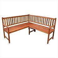 """K&A Company Outdoor Benches, Garden Corner Bench 59"""" Solid Acacia Wood"""