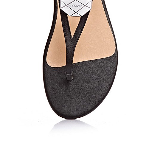 Womens Split Solid Pull Heel Toe Black AmoonyFashion On Frosted No Sandals gExd6q8