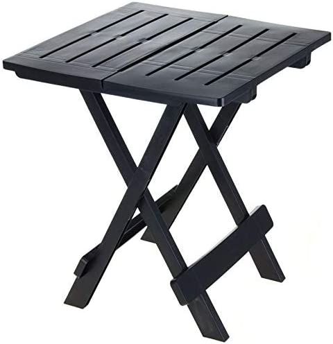 Spetebo Adige - Mesa plegable pequeña para jardín o camping, ideal para utilizarse como mesa auxiliar, Negro: Amazon.es: Jardín