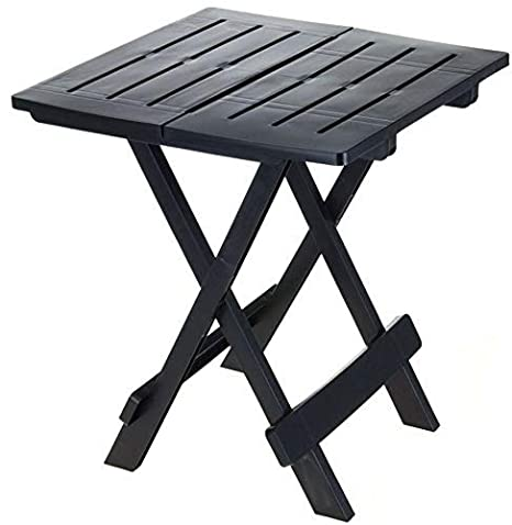 ADIGE - Mesa plegable pequeña para jardín o acampada, ideal para utilizarse como mesa auxiliar, negro