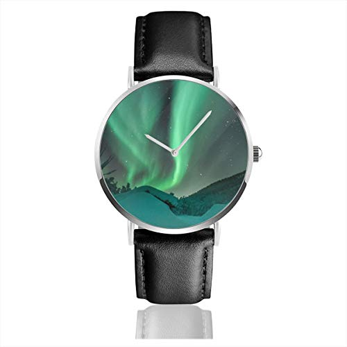 Classic Watches Ultra-Thin Quartz Analog Date Wrist Watch with Black Leather Strap Aurora Borealis Colors Dark