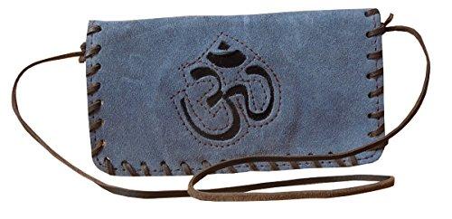 Portafoglio in pelle scamosciata in vera pelle color blu Cow Spice Art